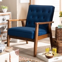 Designer Studios Sorrento Mid-century Modern Navy Velvet Fabric Upholstered Walnut Finished Wooden Lounge Chair