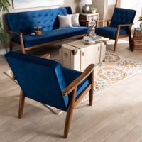 Designer Studios Sorrento Mid-century Modern Navy Blue Velvet Fabric Upholstered Walnut Finished 3-Piece Wooden Living Room Set