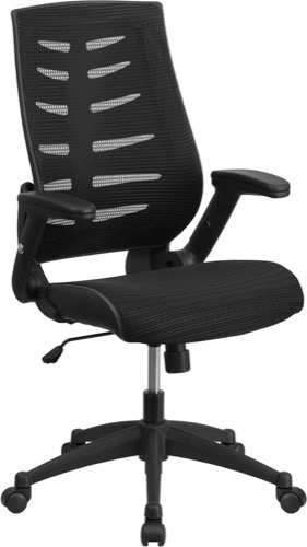 Contemporary Office Chair - Flexible High Back - Flip-Up Arms - Black Mesh  - Fabric Seat