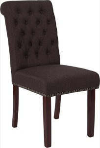HERCULES Series Brown Fabric Parsons Chair - Rolled Back, Nail Head Trim and Walnut Finish