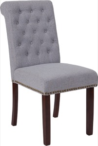 HERCULES Series Light Gray Fabric Parsons Chair - Rolled Back, Nail Head Trim and Walnut Finish
