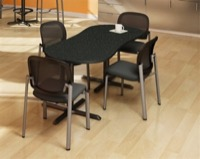 "Mayline Bistro Dining Peanut-Shape Table 72"" x 30"" - Black Iron Base - High Pressure Laminate (HPL), Knife Edge"
