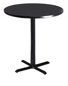 "Mayline Bistro Bar-Height Round Table 30"" - Black Iron Base - High Pressure Laminate (HPL), Knife Edge"