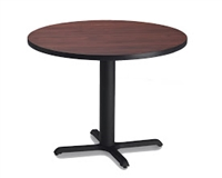 "Mayline Bistro Dining Round Table 30"" - Black Iron Base - High Pressure Laminate (HPL), Knife Edge"