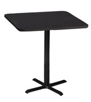 "Mayline Bistro Bar-Height Square Table 30"" - Black Iron Base - High Pressure Laminate (HPL), Knife Edge"