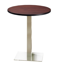 "Mayline Bistro Bar-Height Round Table 36"" - Stainless Steel Base - Thermally Fused Laminate (TPL)"