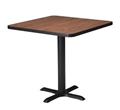 "Mayline Bistro Dining Square Table 30"" - Black Iron Base - Thermally Fused Laminate (TPL)"