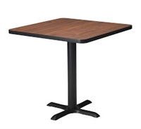 "Mayline Bistro Dining Square Table 30"" - Black Iron Base - High Pressure Laminate (HPL), Knife Edge"