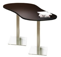 "Mayline - Bistro Bar-Height Table - Peanut - Stainless Base 72"" x 30"" - HPL"