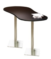"Mayline Bistro Dining Peanut-Shape Table 72"" x 30"" - Stainless Steel Base - Thermally Fused Laminate"