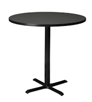 "Mayline Bistro Bar-Height Round Table 42"" - Black Iron Base - High Pressure Laminate (HPL), Knife Edge"