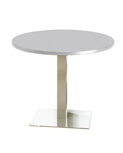 "Mayline Bistro Dining Round Table 42"" - Stainless Steel Base - High Pressure Laminate (HPL),  Knife Edge"