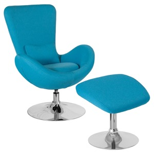 Egg Series Aqua Fabric Side Reception Chair with Ottoman