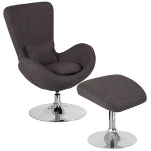Egg Series Dark Gray Fabric Side Reception Chair with Ottoman