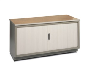 "Mayline MailFlow Systems - Tambour Door Storage Console - 72"" x 30"" x 30"" - High-Pressure Laminate"