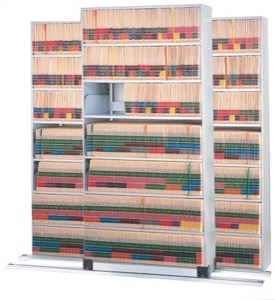 3/2 8-Tier Legal Depth 4-Post on Kwik Track Typical; 137W x 33D w/ 3 Dividers per Shelf