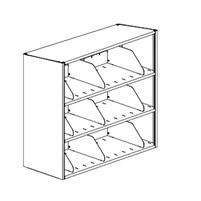 3-Tier 4-Post Shelving Unit Single Sided Starter; 42W x 12D x 43H w/ 3 Dividers Per Shelf
