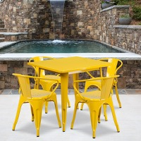 Yellow Metal Indoor Table Set