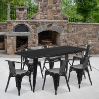 Black Metal Indoor Table Set