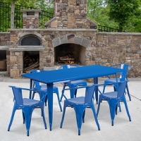 Blue Metal Indoor Table Set