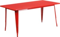 Rectangular Red Metal Table