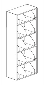 "Heavy Duty Shelving 42""W x 18""D x 86""H 5-Tier Adder Single Sided Unit w/ 3 Dividers per Shelf"