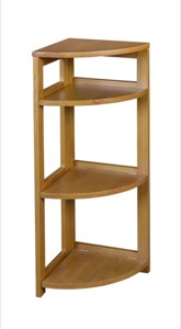 "Flip Flop 34"" High Corner Folding Bookcase - Medium Oak"
