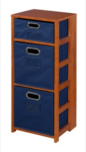 "Flip Flop 34"" Square Folding Bookcase with Folding Fabric Bins - Cherry/Blue"