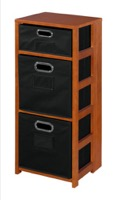 "Flip Flop 34"" Square Folding Bookcase with Folding Fabric Bins - Cherry/Black"