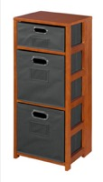 "Flip Flop 34"" Square Folding Bookcase with Folding Fabric Bins - Cherry/Grey"