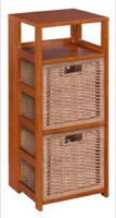"Flip Flop 34"" Square Folding Bookcase with 2 Full Size Wicker Storage Baskets - Cherry/Natural"