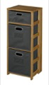 "Flip Flop 34"" Square Folding Bookcase with Folding Fabric Bins - Medium Oak/Grey"