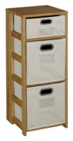 "Flip Flop 34"" Square Folding Bookcase with Folding Fabric Bins - Medium Oak/Natural"
