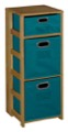 "Flip Flop 34"" Square Folding Bookcase with Folding Fabric Bins - Medium Oak/Teal"