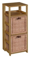 "Flip Flop 34"" Square Folding Bookcase with 2 Full Size Wicker Storage Baskets - Medium Oak/Natural"