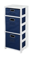 "Flip Flop 34"" Square Folding Bookcase with Folding Fabric Bins - White/Blue"
