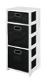 "Flip Flop 34"" Square Folding Bookcase with Folding Fabric Bins - White/Black"