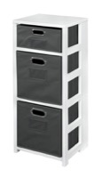 "Flip Flop 34"" Square Folding Bookcase with Folding Fabric Bins - White/Grey"