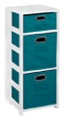 "Flip Flop 34"" Square Folding Bookcase with Folding Fabric Bins - White/Teal"