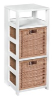 "Flip Flop 34"" Square Folding Bookcase with 2 Full Size Wicker Storage Baskets - White/Natural"