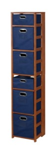 "Flip Flop 67"" Square Folding Bookcase with Folding Fabric Bins - Cherry/Blue"