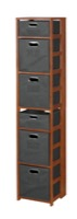 "Flip Flop 67"" Square Folding Bookcase with Folding Fabric Bins - Cherry/Grey"