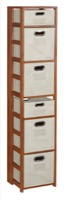 "Flip Flop 67"" Square Folding Bookcase with Folding Fabric Bins - Cherry/Natural"