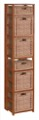"Flip Flop 67"" Square Folding Bookcase with Wicker Storage Baskets - Cherry/Natural"