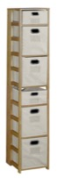 "Flip Flop 67"" Square Folding Bookcase with Folding Fabric Bins - Medium Oak/Natural"