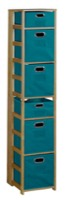 "Flip Flop 67"" Square Folding Bookcase with Folding Fabric Bins - Medium Oak/Teal"