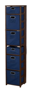 "Flip Flop 67"" Square Folding Bookcase with Folding Fabric Bins - Mocha Walnut/Blue"