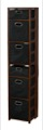 "Flip Flop 67"" Square Folding Bookcase with Folding Fabric Bins - Mocha Walnut/Black"