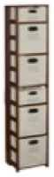 "Flip Flop 67"" Square Folding Bookcase with Folding Fabric Bins - Mocha Walnut/Natural"