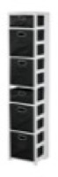 "Flip Flop 67"" Square Folding Bookcase with Folding Fabric Bins - White/Black"